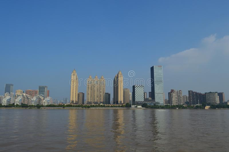 Wuhan Yangtze River. Modern buildings on both sides of the Yangtze River in Wuhan are very distinctive stock images