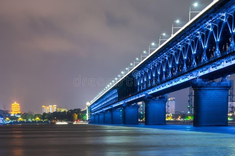 Wuhan Yangze River Bridge at night stock photography