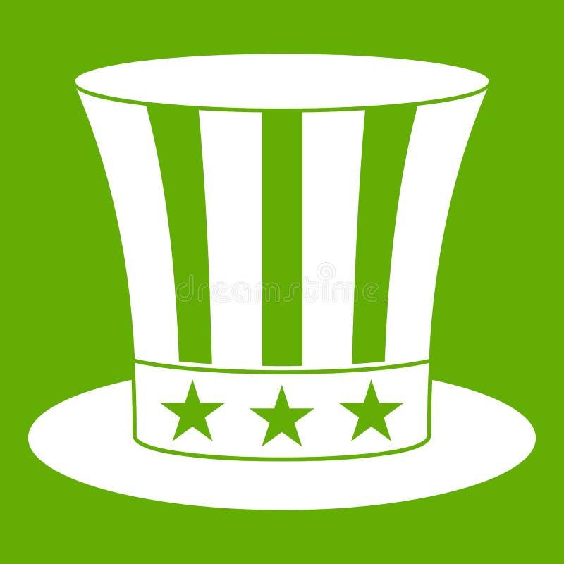 Wujek Sam ikony kapeluszowa zieleń royalty ilustracja