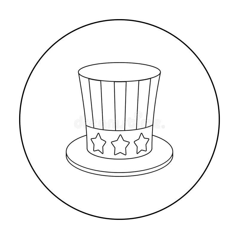 Wujek Sam ` s kapeluszowa ikona w konturu stylu odizolowywającym na białym tle Patriota dnia symbolu zapasu wektoru ilustracja ilustracja wektor