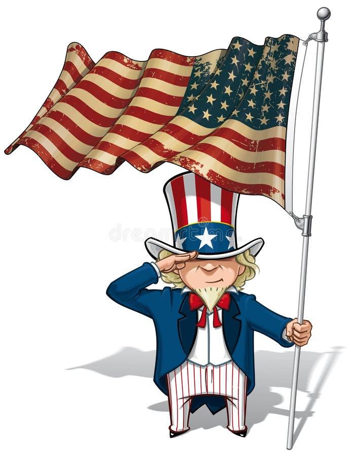 Wujek Sam Salutuje USA WWI-WWII flaga (48 gwiazda) royalty ilustracja