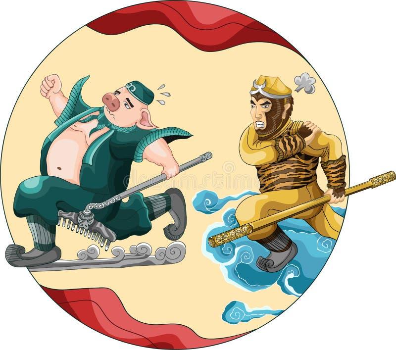 Wukong veloce del sole di re della scimmia di funzionamento di Zhu Bajie con la linea stile di colore di arte sul nuovo anno del  illustrazione vettoriale