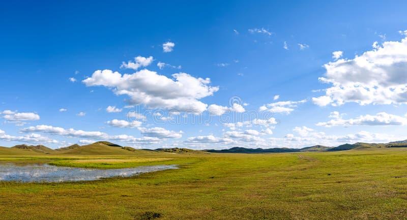WulanBu all grassland ancient battlefield autumn scenery stock image