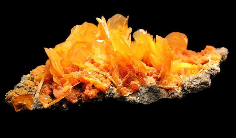 Wulfenite水晶 库存照片