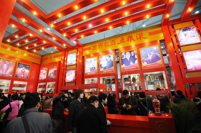 Wuliangye stand,chinese famous liquor. The national sugar and alcoholic commodities trade fair 2012,March 25th-28th,in chengdu,sichuan,china stock photo