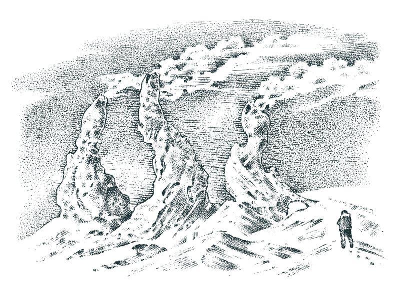 Wulkan aktywność z magmą, dym przed erupcją, lawa i natury katastrofa, dla podróży, przygoda góra ilustracja wektor