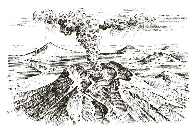 Wulkan aktywność z magmą, dym przed erupcją, lawa i natury katastrofa, dla podróży, przygoda góra royalty ilustracja