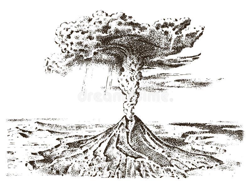 Wulkan aktywność z magmą, dym przed erupcją, lawa i natury katastrofa, dla podróży, przygoda góra ilustracji
