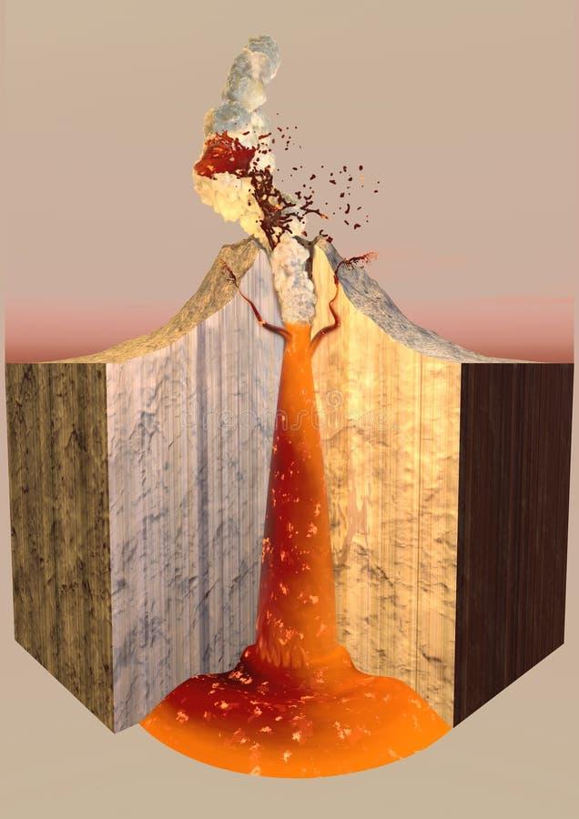 Wulkan erupci dymu popióły, rozłam ilustracji