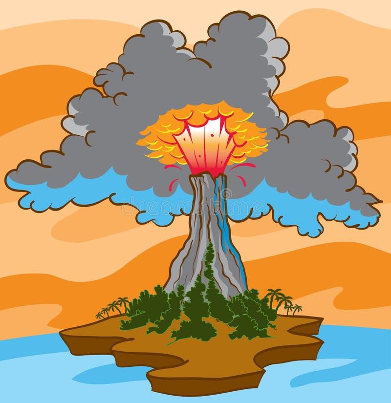 Wulkan erupcja ilustracji