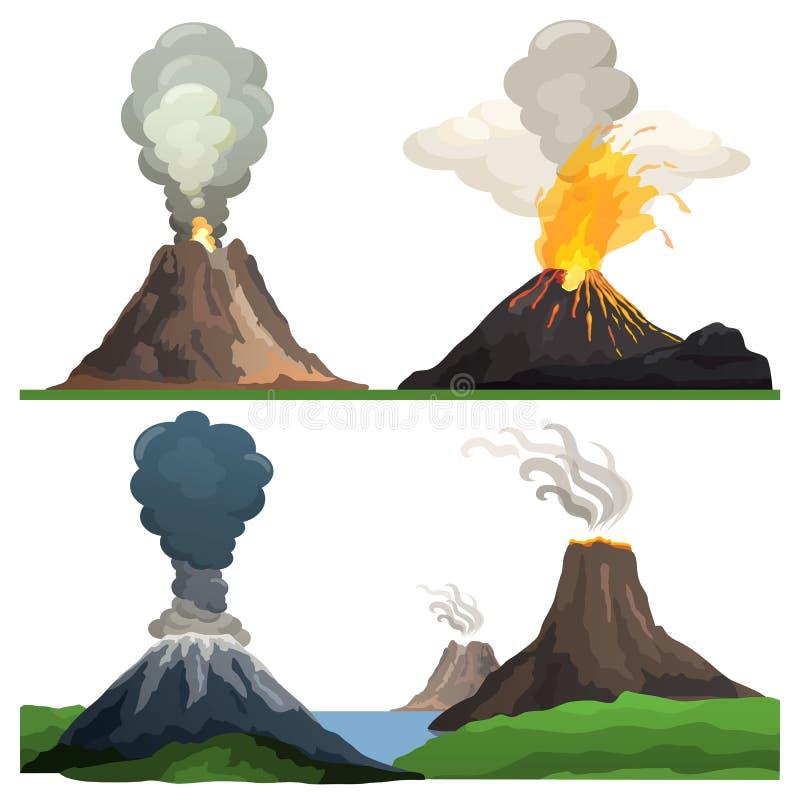 Wulkan erupcja na Wektorowym Ilustracyjnym bielu ilustracja wektor