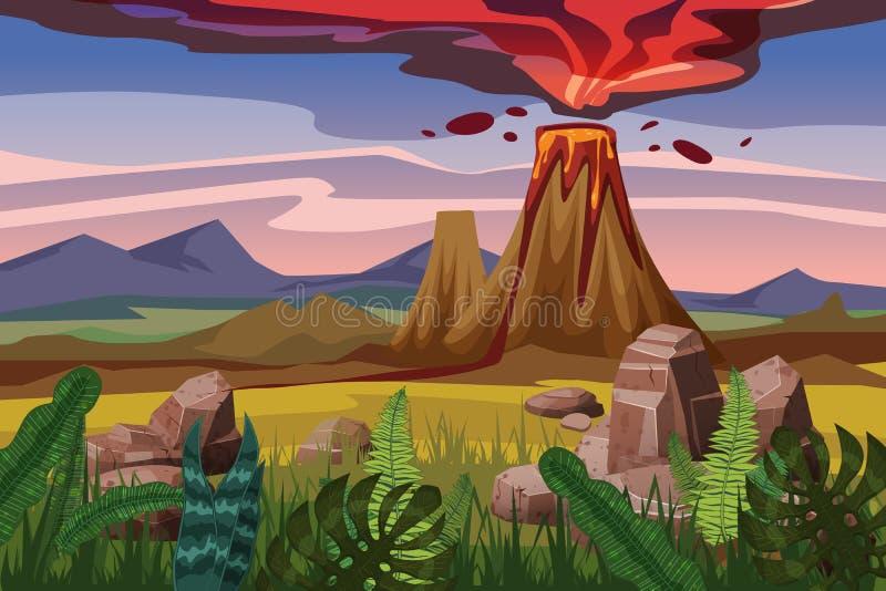 Wulkan erupcja, tło krajobrazowa równina, roślinność, kamienie, wektor, kreskówka styl, ilustracja, odizolowywająca ilustracja wektor