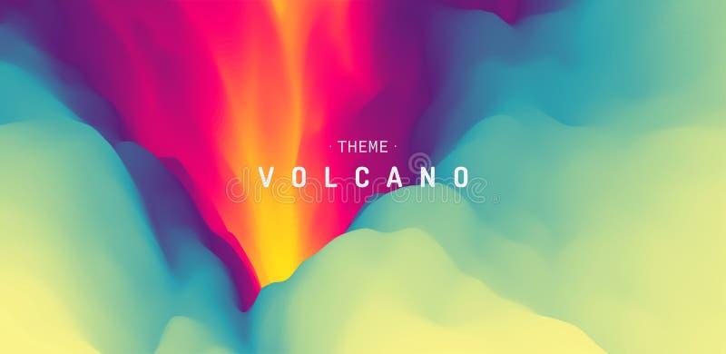 Wulkan erupcja z lawą abstrakcyjny tło Nowożytny wzór projekta ilustracyjny gwiazd wektor ilustracja wektor