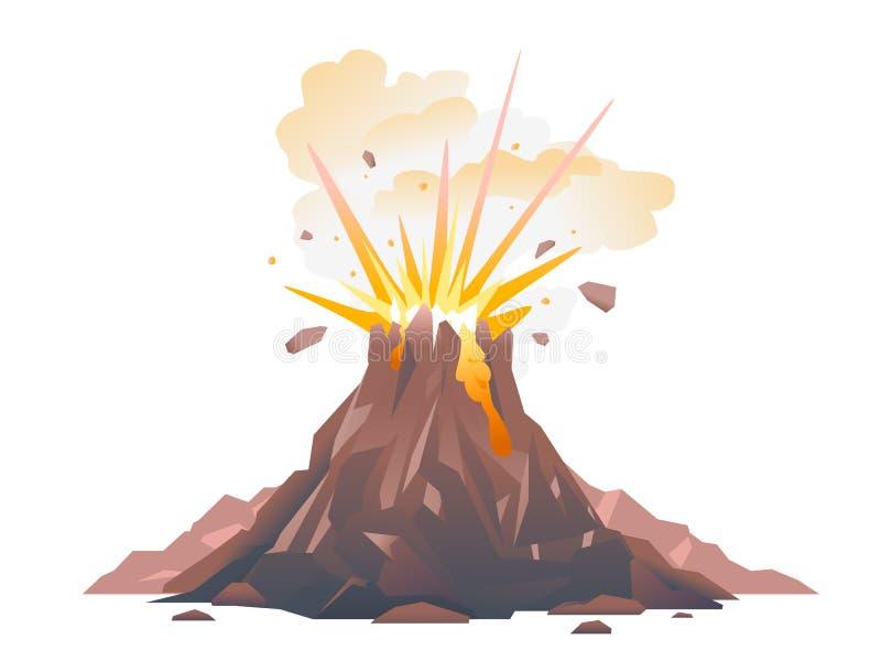Wulkan erupcji ilustracja odizolowywająca royalty ilustracja