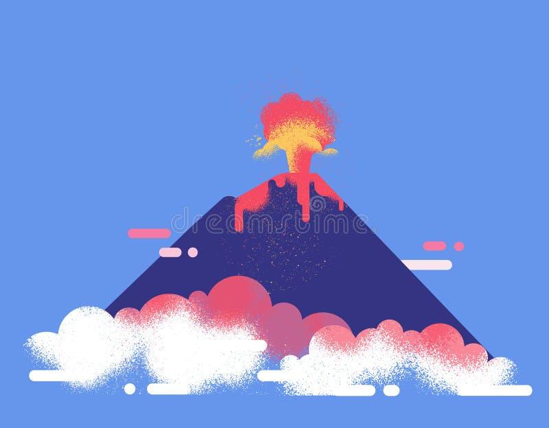 Wulkan erupcji płaska wektorowa ilustracja Lawy i popiółu przepływ ilustracja wektor