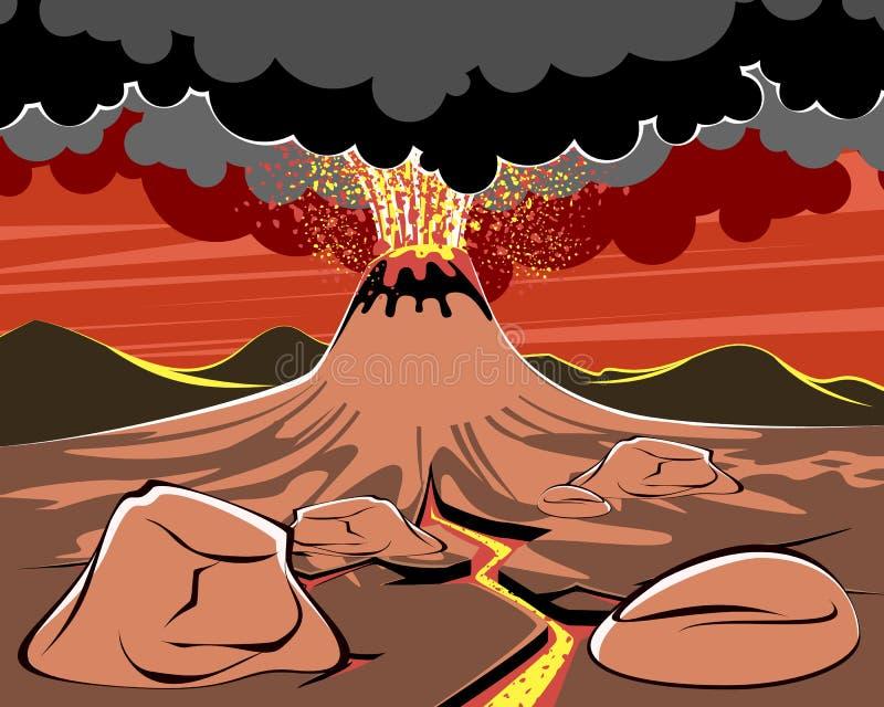 Wulkan erupcji wizerunek ilustracja wektor