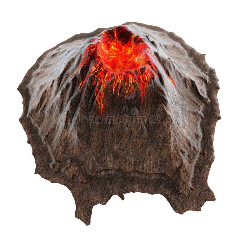 Wulkan lawa bez dymu na isolatedbackground ilustracja 3 d ilustracja wektor