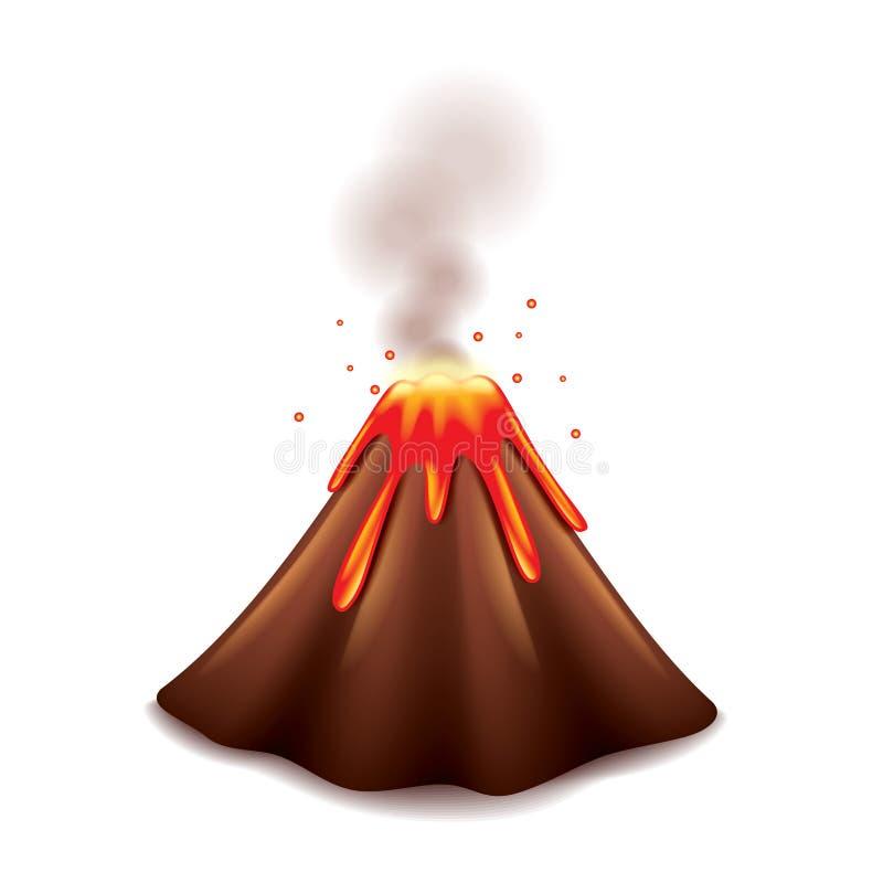 Wulkan na białym wektorze ilustracja wektor