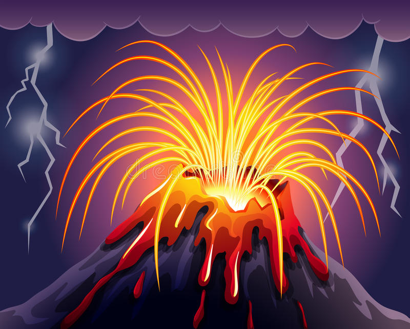 Wulkan na burzy nocy ilustracji