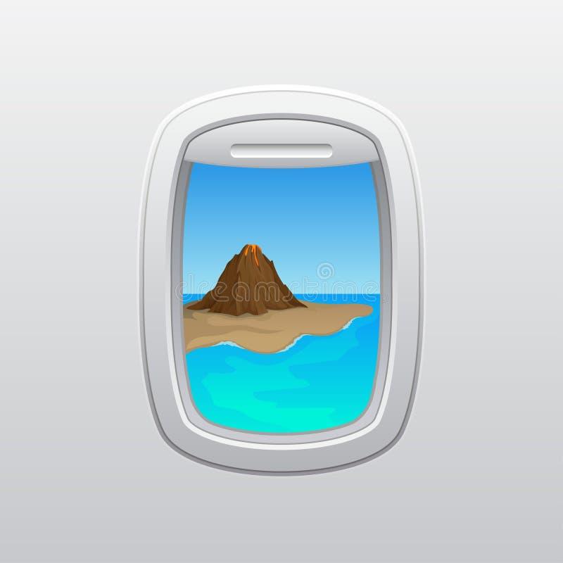Wulkan na szarym brzeg Widok od okno samolot t?a ilustracyjny rekinu wektoru biel ilustracja wektor