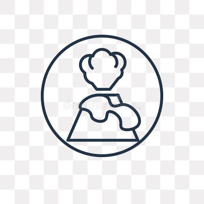 Wulkan Ostrzegawcza wektorowa ikona odizolowywająca na przejrzystym tle, ilustracji