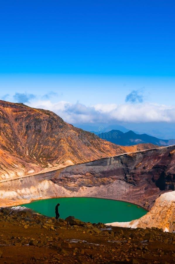 Wulkanu Krater jezioro góra Zao, Japonia zdjęcia stock