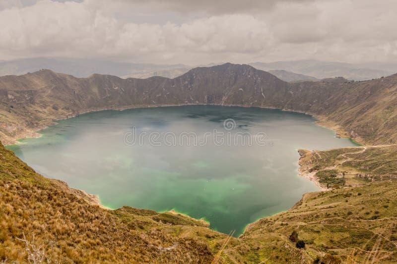 Wulkanu krateru Jeziorna panorama, Quilotoa, Ekwador obrazy stock