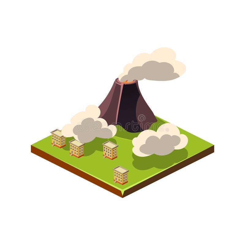 Wulkanu popiół i erupcja Katastrofy Naturalnej ikona również zwrócić corel ilustracji wektora royalty ilustracja