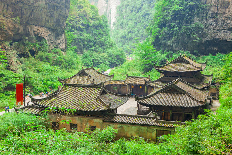 Wulong Karst World Natural Heritage, Chongqing, China. Antique Chinese historical tavern in valley, an important constituent part of the Wulong Karst World royalty free stock photo