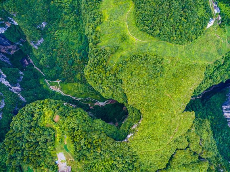 Wulong Karst World Natural Heritage. chongqing,China. Wulong Karst limestone rock formations in Longshui Gorge Difeng. An important constituent part of the stock photo