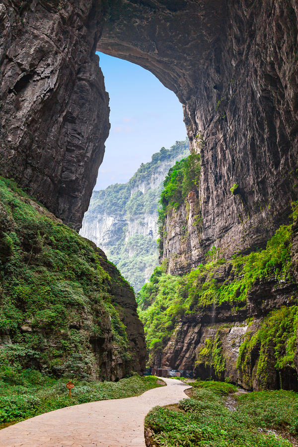 Wulong Karst World Natural Heritage, Chongqing, China. Wulong Karst limestone rock formations in Longshui Gorge Difeng, an important constituent part of the stock photos