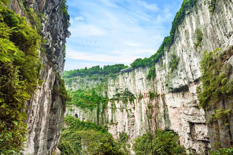 Wulong Karst World Natural Heritage, Chongqing, China. Wulong Karst limestone rock formations in Longshui Gorge Difeng an important constituent part of the stock photos