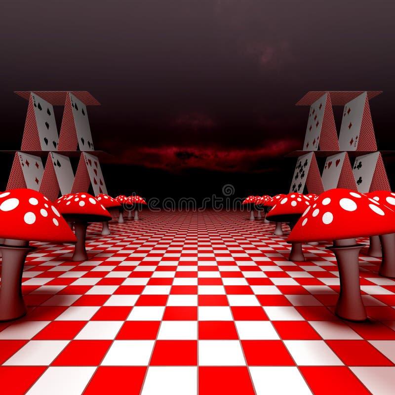 Wulstling und Spielkarten auf dem Schachbrett lizenzfreie abbildung