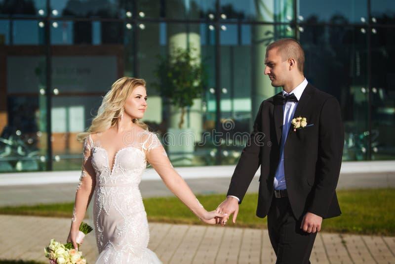 Wunderbare Braut und Bräutigam, die nahe dem modernen Gebäude geht lizenzfreie stockfotos