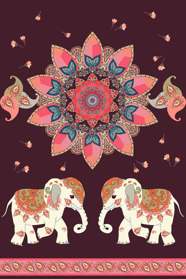 Wunderbare ethnische Weinleseverzierung mit Sonnenmandala, indischen Elefanten, kleinen Blumen und Paisley-Rahmen Schöner Vektor lizenzfreie abbildung