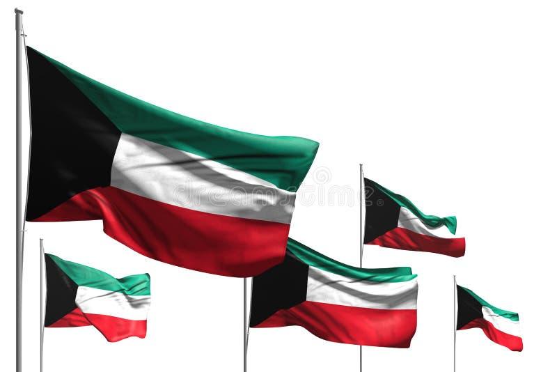 Wunderbare fünf Flaggen von Kuwait sind die Welle, die auf weiß- jede mögliche Illustration der Gelegenheitsflagge 3d lokalisiert lizenzfreie abbildung