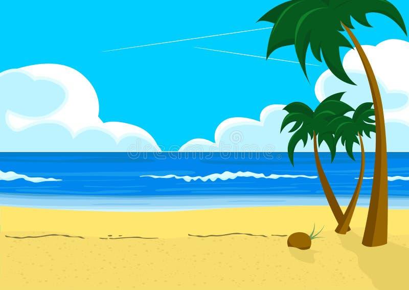 Wunderbare Landschaft mit tropischen Strand- und Palmen vektor abbildung