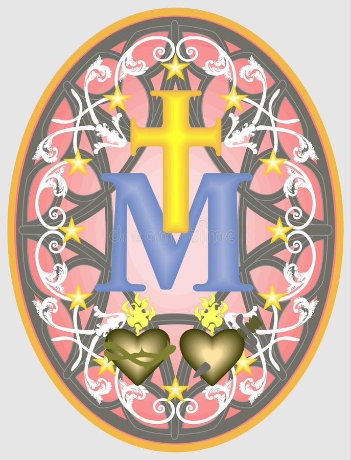Wunderbare Medaille unserer Dame, Monogramm M unterhalb des Kreuzes, umgeben durch Sterne und Verzierungen stock abbildung