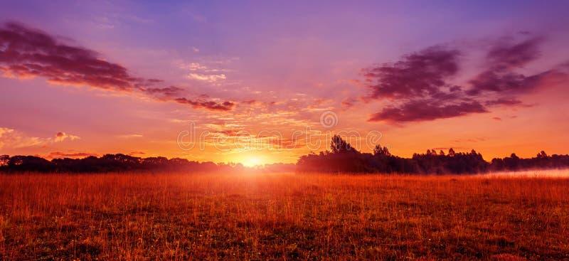 Wunderbare Sommerlandschaft bunter Sonnenaufgang über See und den Landwirtschaftsfeldern lizenzfreie stockbilder