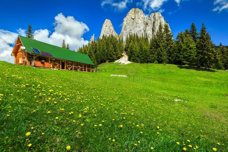 Wunderbare Sommerlandschaft mit hohen Klippen und hölzerner Hütte, Rumänien lizenzfreies stockfoto