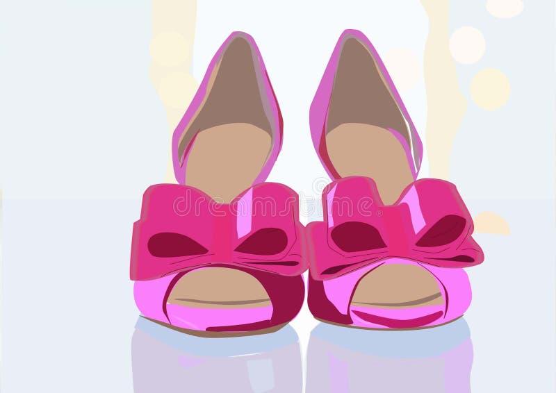 Wunderbare und elegante Paare der rosa Schuhe vektor abbildung
