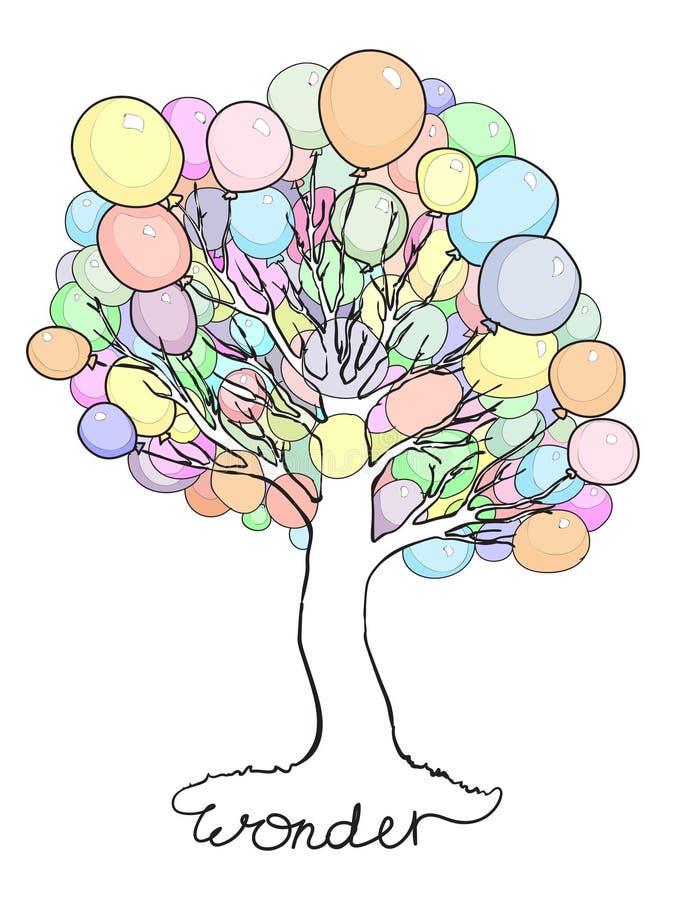 Wunderbarer Baum mit Ballonen anstelle der Blätter lizenzfreie abbildung