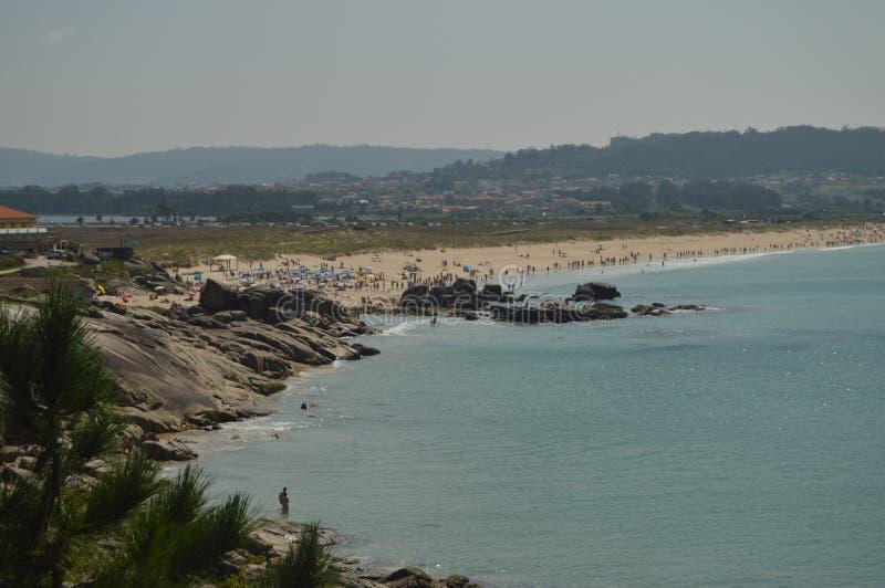 Wunderbarer Foxos-Strand am La Lanzada in Noalla Natur, Architektur, Geschichte, Reise 19. August 2014 Noalla, Pontevedra, Galizi lizenzfreies stockbild