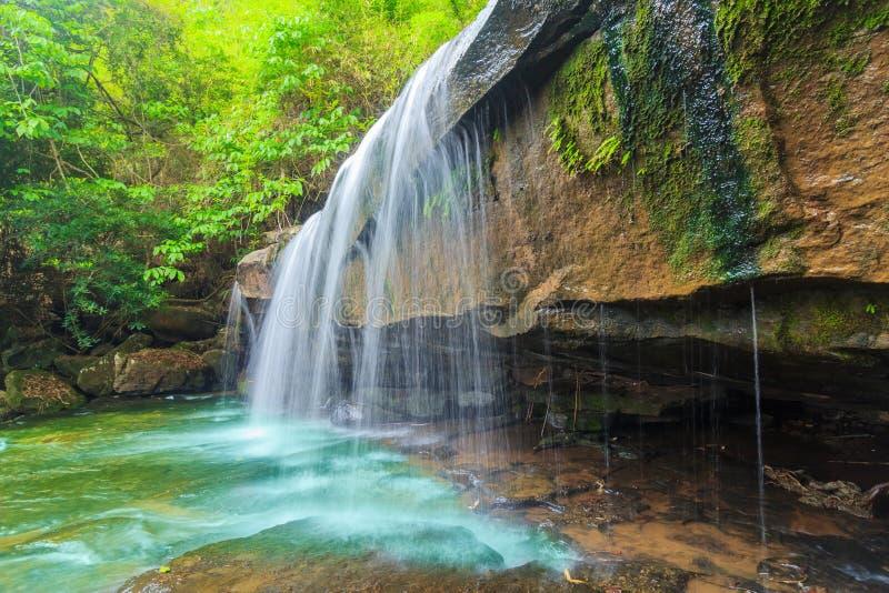 Wunderbarer Wasserfall mit tiefem Wald am Nationalpark lizenzfreie stockfotos