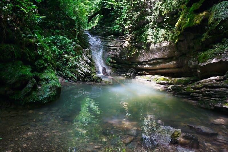 Wunderbarer Wasserfall unter den Felsen im Gebirgswald stockfotografie