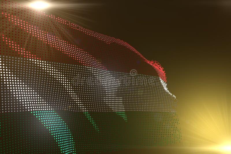 Wunderbares Digitalbild von Ungarn-Flagge machte von den Punkten, die auf Gelbem mit freiem Platz für Inhalt - jede mögliche Illu vektor abbildung