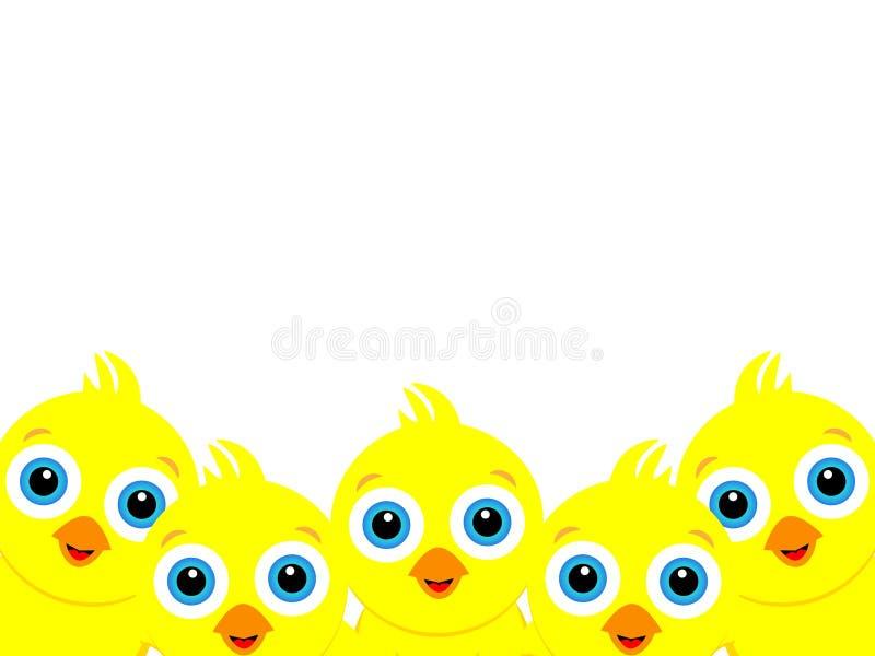 Wunderbares Hintergrunddesign geschaffen von vielen kleinen gelben Küken lizenzfreie abbildung