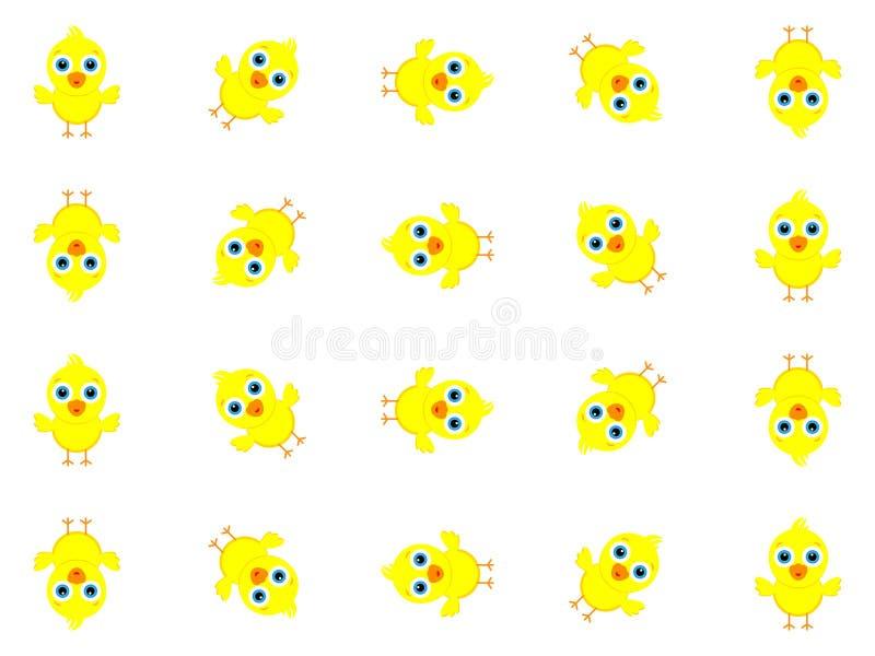 Wunderbares Hintergrunddesign geschaffen von vielen kleinen gelben Küken stock abbildung