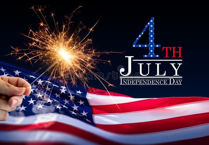 Wunderkerze mit amerikanischer Flagge stockbilder