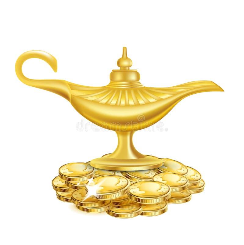 Wunderlampe mit den goldenen Münzen lokalisiert auf Weiß lizenzfreie abbildung